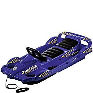 Санки с рулем AlpenGaudi Double Race BOB синий для двоих детей