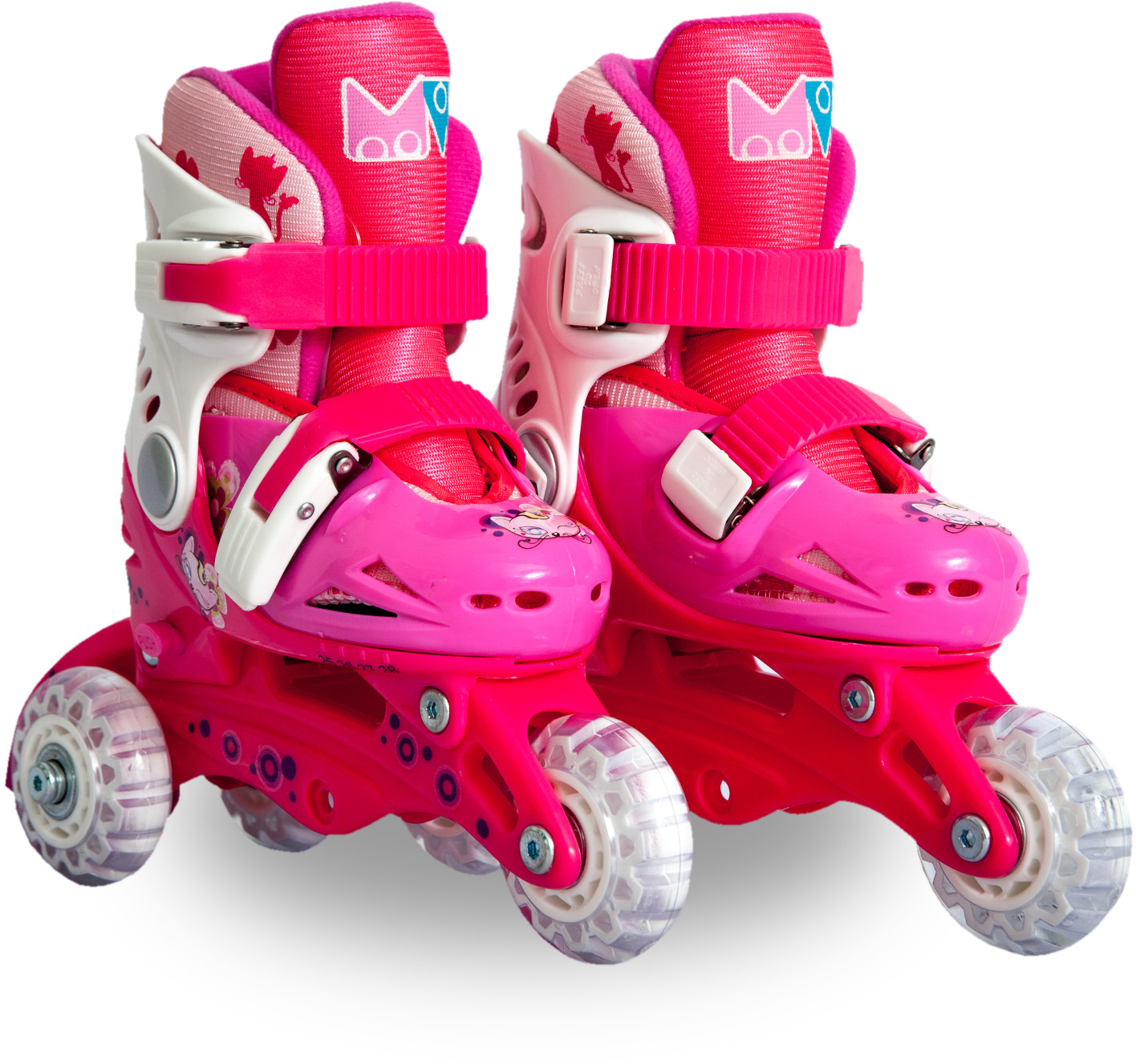 Ролики детские 26 размер, для обучения (трансформеры, раздвижной ботинок) MagicWheels розовые, - фото 1
