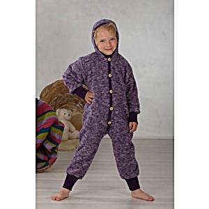 Комбинезон детский из шерстяного флиса с капюшоном на пуговицах COSILANA (Козилана) 100% шерсть цвет Лиловый Меланж