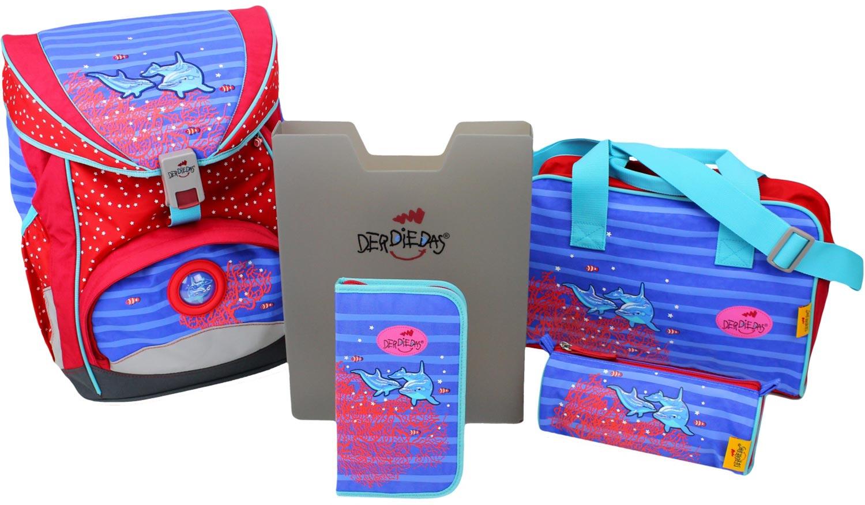 Ранец Derdiedas Ergoflex Дельфин с наполнением + нагрудный ремень, - фото 1