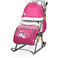 Санки коляска Ника Детям 6 со Снеговиками розовый